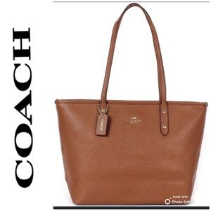 Coach Crossgrain City Zip Tote Saddle